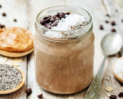Chocolate Mint Protein Overnight Oats